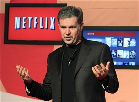 Netflix Chief Executive Officer Reed Hastings speaks during the launch of streaming internet subscription services for movies and television shows to televisions and computers in Canada, at a news conference in Toronto September 22, 2010. REUTERS/Mike Cassese