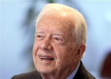 <p>Referendum observer and former U.S. President Jimmy Carter speaks during an interview in Khartoum January 15, 2011. REUTERS/Mohamed Nureldin Abdallah (SUDAN</p>