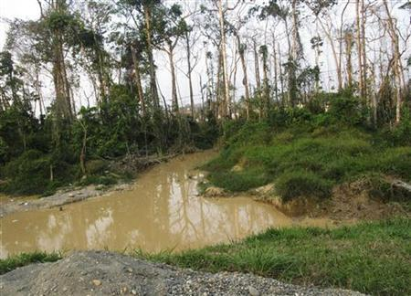 A pool of contaminated water is seen near gold mines along the section of the Interoceanic Highway linking Peru and Brazil in the Amazon jungle department of Madre de Dios, August 20, 2010. REUTERS/Mariana Bazo