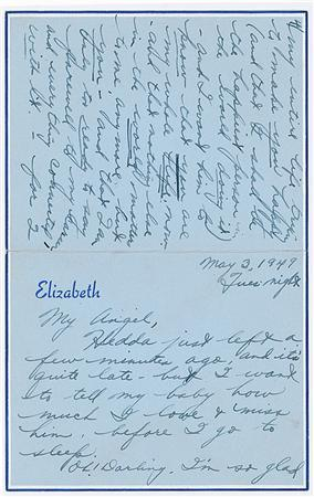 A May 3, 1949 letter written by a 17 year-old Elizabeth Taylor to then fiance William Pawley Jr. REUTERS/RR Auction