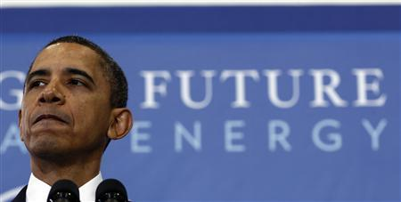 President Obama delivers remarks on his energy strategy at Georgetown University, March 30, 2011. REUTERS/Jim Young
