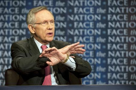 Senator Harry Reid (D-NV) talks about the possibility of a government shutdown over a budget impasse and U.S. military action in Libya on ''Face the Nation'' April 3, 2011. REUTERS/Chris Usher/Handout