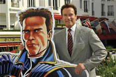 """<p>Former California Governor Arnold Schwarzenegger poses during the photocall of the animated tv series """"The Governator"""" during the yearly MIPTV, the International Television Programs Market, in Cannes, southeastern France, April 4, 2011. REUTERS/Jean-Pierre Amet</p>"""