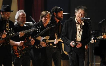 Bob Dylan performs ''Maggie's Farm'' at the 53rd annual Grammy Awards in Los Angeles, California in this February 13, 2011 file photo. REUTERS/Lucy Nicholson