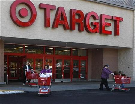Shoppers exit a Target store with their purchases in Fairfax, Virginia, in this February 4, 2010 file photo. REUTERS/Stelios Varias/Files