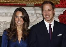 <p>Britain's Prince William and his fiancee Kate Middleton pose for a photograph in St. James's Palace, central London in this November 16, 2010 file photo. REUTERS/Suzanne Plunkett/Files</p>