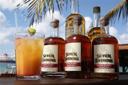 Bottles of Seven Fathoms and Governor's Reserve rum are seen in Grand Cayman, February 2011. REUTERS/Jillian Kitchener