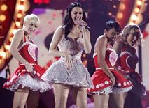"<p>Singer Katy Perry performs ""Teenage Dream"" at the 53rd annual Grammy Awards in Los Angeles, California February 13, 2011. REUTERS/Lucy Nicholson</p>"