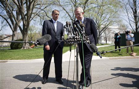Speaker of the House John Boehner (R-OH) (L) and Senate Majority Leader Harry Reid (D-NV) speak about the continuing budget negotiations after meeting with U.S. President Barack Obama at the White House in Washington April 7, 2011. REUTERS/Joshua Roberts