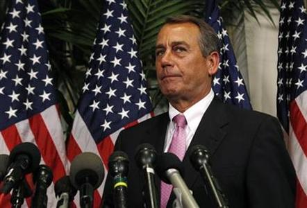 House of Representatives Speaker John Boehner announces a budget deal in the Capitol in Washington April 8, 2011. REUTERS/Kevin Lamarque