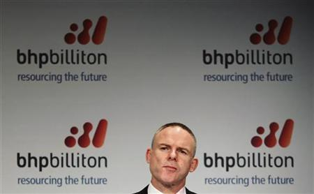 Marius Kloppers, BHP Billiton Chief Executive, gestures during the half-year results news conference in central Sydney February 16, 2011. REUTERS/Tim Wimborne