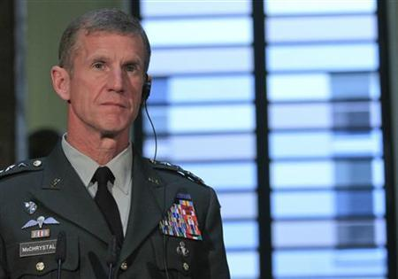 U.S. General Stanley McChrystal attends a news conference after talks with German Defence Minister Karl-Theodor zu Guttenberg in Berlin, April 21, 2010. REUTERS/Tobias Schwarz