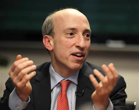 U.S. Commodity Futures Trading Commission (CFTC) Chairman Gary Gensler gestures as he speaks during Reuters Future Face of Finance Summit in Washington, March 2, 2011. REUTERS/Hyungwon Kang