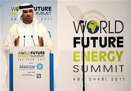 Masdar CEO Sultan al-Jaber speaks during the opening presentation of the World Future Energy Summit at the Abu Dhabi National Exhibition Centre January 17, 2011. REUTERS/Jumana El-Heloueh
