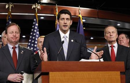 House Budget Committee Chairman Paul Ryan (R-WI) speaks at a news conference held to unveil the House Republican budget blueprint, April 5, 2011. REUTERS/Kevin Lamarque