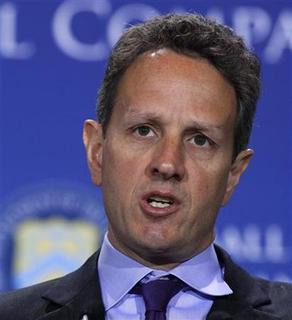 Secretary of Treasury Timothy Geithner attends an Access to Capital Conference entitled ''Fostering Growth and Innovation for Small Companies'' in the Cash Room at the Treasury Department in Washington, March 22, 2011. REUTERS/Larry Downing