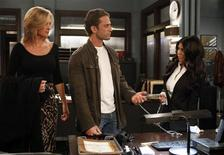 "<p>Kourtney Kardashian makes her acting debut on ABC's ""One Life to Live"" with actors Kassie Depaiva and David Fumero on March 28, 2011. REUTERS/Heidi Gutman</p>"
