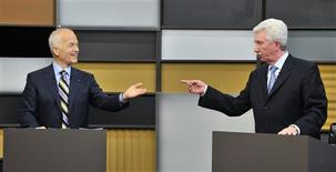 <p>New Democratic Party leader Jack Layton (L) debates with Bloc Quebecois leader Gilles Duceppe during the French-language leaders' debate in Ottawa April 13, 2011. REUTERS/Sean Kilpatrick/Pool</p>