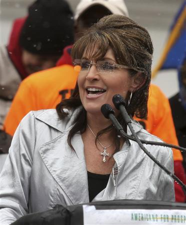 Sarah Palin speaks at a Tax Day rally at the State Capitol in Madison, Wisconsin April 16, 2011. REUTERS/Allen Fredrickson