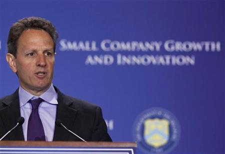 U.S. Secretary of Treasury Timothy Geithner addresses an Access to Capital Conference entitled ''Fostering Growth and Innovation for Small Companies'' in the Cash Room at the Treasury Department in Washington, March 22, 2011. REUTERS/Larry Downing