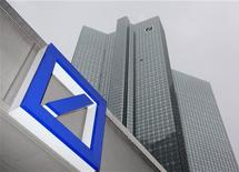 <p>A Deutsche Bank logo is pictured in front of the Deutsche Bank headquarters in Frankfurt February 24, 2011. REUTERS/Ralph Orlowski</p>