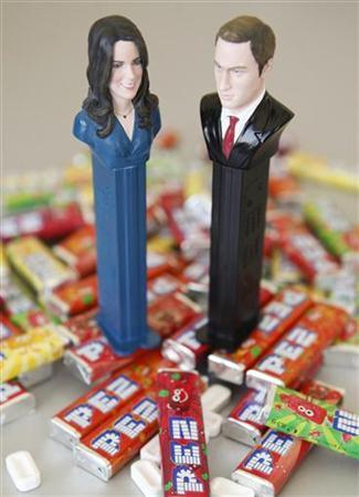 A set of commemorative Pez candy dispensers, to celebrate the wedding of Britain's Prince William and Kate Middleton, is pictured at the Pez headquarters in Traun March 30, 2011. REUTERS/Herwig Prammer