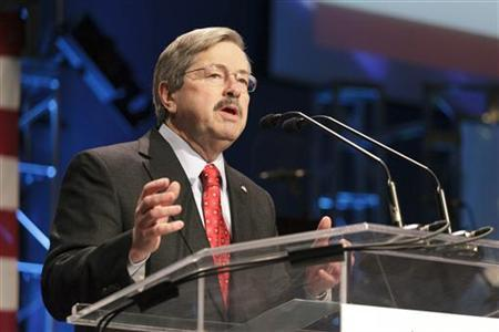 Iowa Governor Terry Branstad speaks during the Iowa Faith & Freedom Coalition's Spring Event at Point of Grace Church in Waukee, Iowa March 7, 2011. REUTERS/Brian Frank