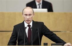 <p>Премьер-министр РФ Владимир Путин обращается к выступает с отчетом в Госдуме 20 апреля 2011 года. Премьер-министр России Владимир Путин в среду выступает в Госдуме с очередным отчетом правительства. Ниже следуют выдержки из его выступления. REUTERS/Alexander Natruskin</p>