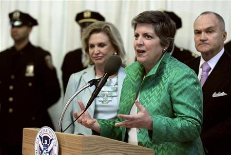 U.S. Homeland Security Secretary Janet Napolitano (2nd R) speaks during a news conference at Grand Central Station in New York April 20, 2011. REUTERS/Brendan McDermid