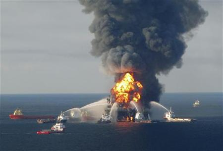 Response crews battle flames on the Deepwater Horizon, off Louisiana, April 21, 2010. REUTERS/U.S. Coast Guard