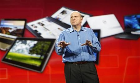 Microsoft CEO Steve Ballmer delivers his keynote address at the Consumer Electronics Show in Las Vegas, January 5, 2011. REUTERS/Rick Wilking