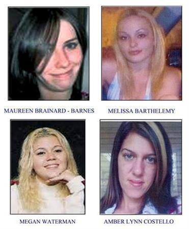 Maureen Brainard-Barnes (top L), Melissa Barthelemy (top R), Megan Waterman (bottom L) and Amber Lynn Costello (bottom R) are seen in a combination of handouts released to Reuters by Suffolk County Police Department April 6, 2011. REUTERS/Suffolk County Police Department/Handout