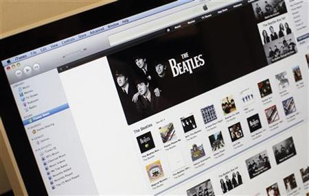 Music from the legendary band The Beatles is seen on Apple's itunes music store website seen on an imac computer in New York, November 16, 2010. REUTERS/Mike Segar