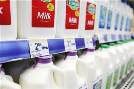 Milk for sale in a store in New York April 7, 2011. REUTERS/Lucas Jackson