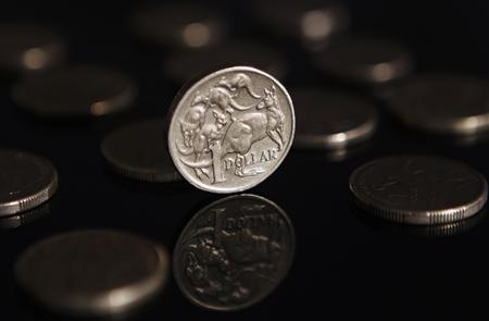 A one Australian dollar coin ($1.09) is seen in this picture illustration taken in Sydney April 29, 2011. The Australian dollar consolidated near recent highs against a broadly weaker U.S. currency on Friday and within spitting distance a huge chart objective at $1.1000, having enjoyed its best month so far this year. REUTERS/Daniel Munoz