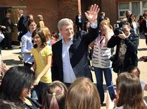 <p>Prime Minister Stephen Harper visits the students of St. Augustine Elementary School after he voted in his riding in Calgary, Alberta, May 2, 2011. REUTERS/Todd Korol</p>