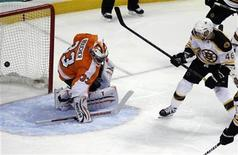 <p>Boston Bruins center David Krejci (46) scores a goal on the Philadelphia Flyers goalie Brian Boucher (33) during the first period of Game 1 of their NHL Eastern Conference semi-final hockey game in Philadelphia, Pennsylvania, April 30, 2011. REUTERS/Tim Shaffer</p>