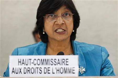 United Nations High Commissioner for Human Rights Navi Pillay adresses the opening of the 16th session of the Human Rights Council at the United Nations European headquarters in Geneva, February 28, 2011. REUTERS/Valentin Flauraud