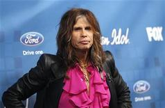 """<p>American Idol judge Steven Tyler poses at the party for the finalists of the television show """"American Idol"""" in Los Angeles March 3, 2011. REUTERS/Mario Anzuoni</p>"""