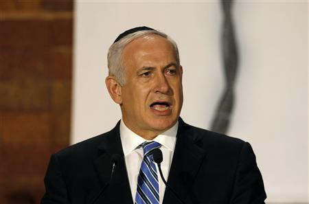 Israel's Prime Minister Benjamin Netanyahu speaks during the official ceremony opening Holocaust Remembrance Day, at Yad Vashem Holocaust Memorial in Jerusalem May 1, 2011. REUTERS/Baz Ratner