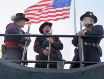 <p>Civil War Union Army re-enactors at Fort Sumter in Charleston, April 12, 2011. REUTERS/Harriet McLeod</p>