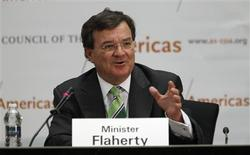 <p>Canadian Finance Minister James Flaherty addresses the Washington Conference on the Americas at the State Department in Washington May 11, 2011. REUTERS/Kevin Lamarque</p>