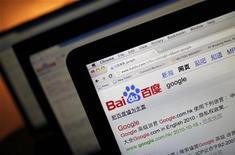 """<p>Foto de archivo de Baidu, el buscador líder de China, visto desde un ordenador en Shanghái, dic 15 2010. Baidu, el buscador líder de China, ha sido condenado por violar los derechos de autor y obligado a pagar una indemnización a una popular web literaria, informó el """"Shangai Daily"""" el jueves. REUTERS/Carlos Barria</p>"""
