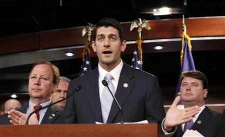House Budget Committee Chairman Paul Ryan (R-WI) speaks at a news conference held to unveil the House Republican budget blueprint in the Capitol in Washington April 5, 2011. REUTERS/Kevin Lamarque