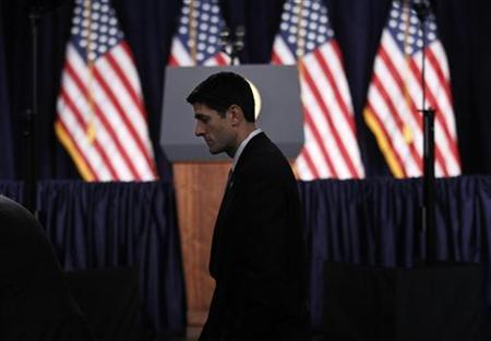 House Budget Committee Chairman Rep. Paul Ryan arrives to listen to President Obama deliver a speech on fiscal and budgetary deficit policy at the George Washington University in Washington, April 13, 2011. REUTERS/Kevin Lamarque