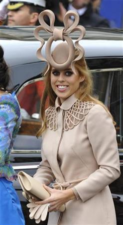 Princess Beatrice is seen arriving at Westminster Abbey before the wedding of Britain's Prince William and Kate Middleton in central London in this April 29, 2011 file photograph. REUTERS/Toby Melville