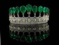 <p>A tiara featuring emeralds believed to have belonged to Eugenie, wife of French Emperor Napoleon III is seen in a press release photo. REUTERS/Sotheby's/Handout</p>