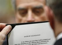 <p>Joe Oliver is sworn-in as Minister of Natural Resources during a ceremony at Rideau Hall in Ottawa May 18, 2011. REUTERS/Blair Gable</p>