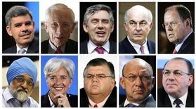 <p>Комбинированное фото возможных кандидатов на должность главы МВФ, 15 мая 2011 года. Доминик Стросс-Кан ушел с поста директора-распорядителя Международного валютного фонда после предъявленных ему обвинений в сексуальных домогательствах и попытке изнасилования. REUTERS/Staff</p>