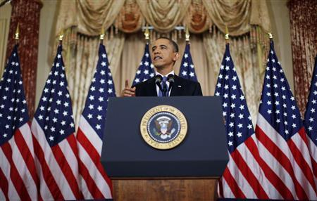 President Barack Obama delivers a speech on United States' policy regarding the Middle East and North Africa at the State Department in Washington May 19, 2011. REUTERS/Jim Young